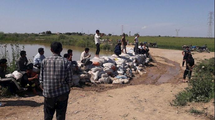سیل بند روستای شیخ فیای کعب عمیر از بخش شاوور
