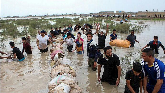 سیل در خوزستان - مردم با دستان خالی