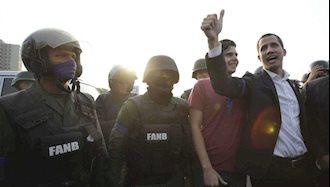 خوان گوایدو در خیابانهای کاراکاس با نیروهای نظامی پیوسته به دولت موقت این کشور.