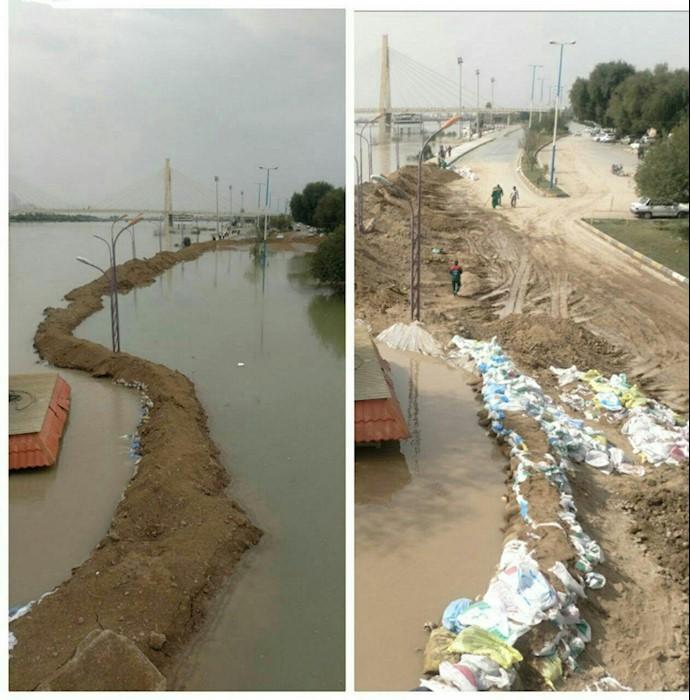 جاده ساحلی اهواز - سمت راست دو روز پیش - سمت چپ امروز