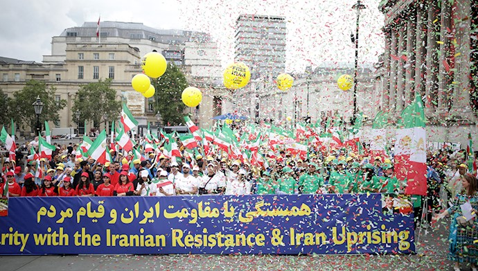 تظاهرات لندن در همبستگی با قیام و مقاومت ایران - ۵مرداد۹۸