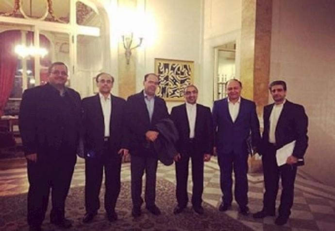 اخلاقی مسئول اقتصادی سفارت رژیم در پاریس – دژخیم محمد سعیدی – علی آهنی سفیر وقت رژیم در فرانسه - جلال پور رئیس اتاق بازرگانی رژیم- فیاض بخش دبیرکل اتاق بازرگانی رژیم- کریمیپور عضو هیأت بازرگانی