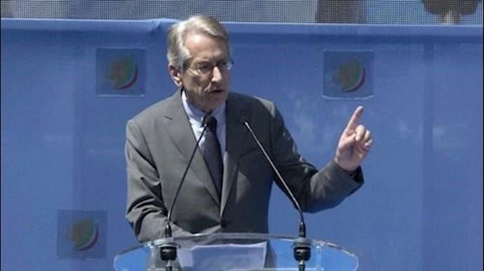 جولیو ترتزی وزیر خارجه پیشین ایتالیا- تظاهرات بروکسل- ۱۵ژوئن ۲۰۱۹