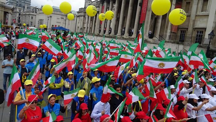 تصویری - تظاهرات در لندن - برای ایران آزاد - همبستگی با قیام و مقاومت مردم ایران
