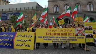 تظاهرات ایرانیان آزاده در استکهلم سوئد علیه ظریف