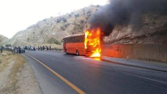 حادثه آتش سوزی اتوبوس دانشجویان یزد