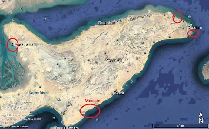 ضمیمه ۱۲- عکس ماهوارهای از مراکز نیروی دریایی سپاه در جزیره قشم