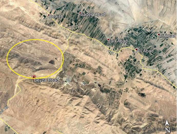 ضمیمه۲- عکس ماهوارهای منطقه عمومی تونل موشکی فجر۵در شمال شیراز