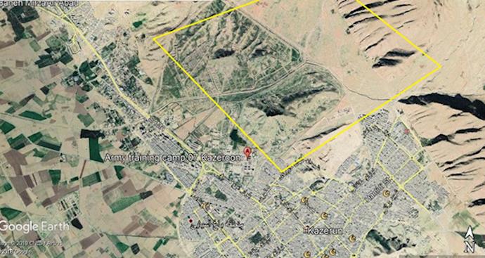 ضمیمه۷- عکس ماهوارهای مرکز موشکی کازرون(مجاور پادگان نیروهای ویژه سپاه)