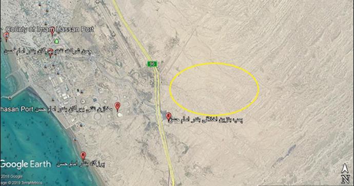 ضمیمه ۱۱- عکس ماهوارهای مرکز موشکی در بندر امام حسن