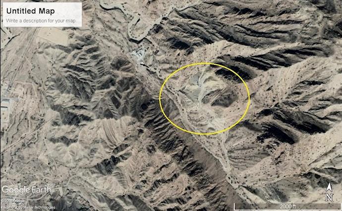 ضمیمه ۱۰- عکس ماهوارهای تونل موشکی در شرق شهر برازجان