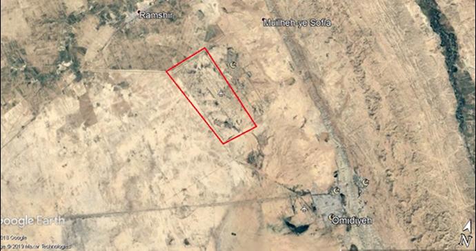 عکس ماهوارهای پایگاه امیدیه (۸۵کیلومتری اهواز- در استان خوزستان)