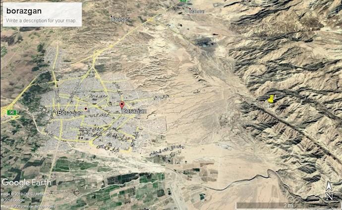 ضمیمه۹- عکس ماهوارهای منطقه عمومی تونل موشکی در شرق شهر برازجان