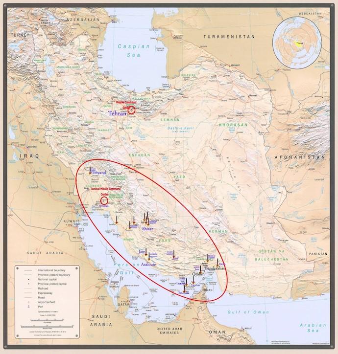 ضمیمه ۱۴- موقعیت فرماندهی موشکی در تهران