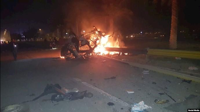تصویری از اصابت موشک به خودروهای حشدالشعبی در نزدیکی فرودگاه بغداد