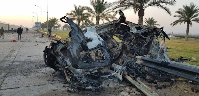 تصویری از خودروی پاسدار قاسم سلیمانی که مورد هدف قرار گرفت
