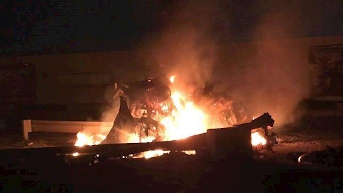 تصاویری از اصابت موشک به خودروهای حشدالشعبی