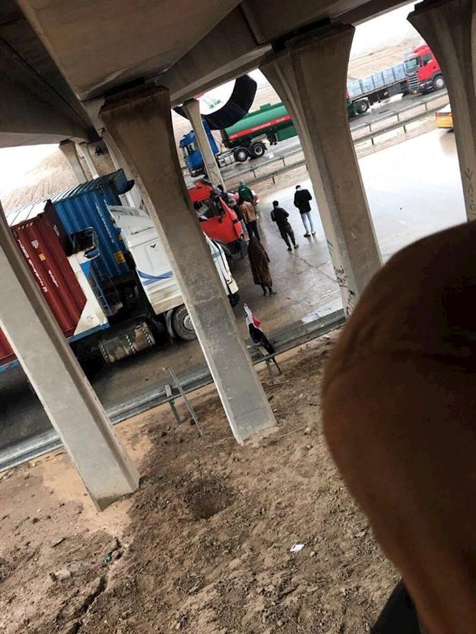 تصاویری از مسدود کردن راهها در بغداد -۲بهمن۹۸