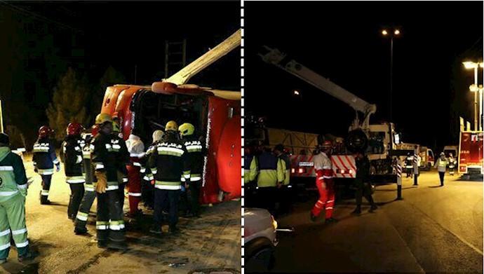 واژگونی اتوبوس تهران-شیراز در اصفهان