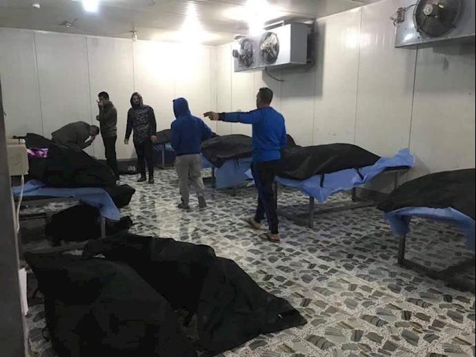 تصویری از اجساد مزدوران رژیم آخوندی و قاسم سلیمانی در سردخانه بغداد