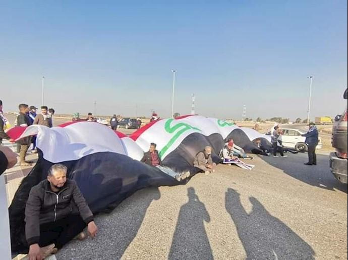 دیوانیه - مسدود کردن اتوبان بینالمللی بغداد