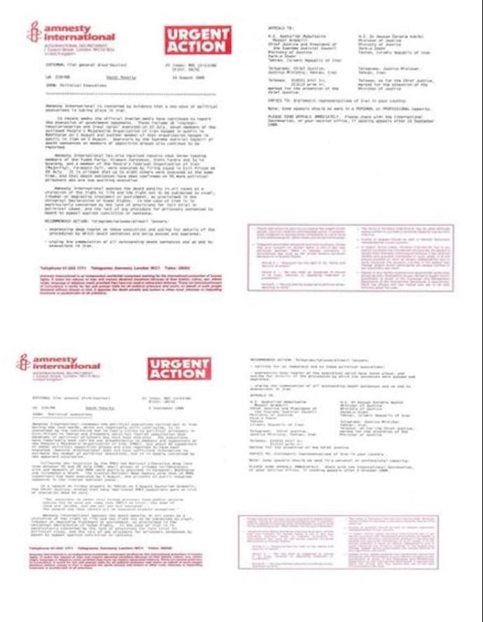 اسناد عفو بینالملل در مورد قتلعام 67