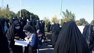 تجمع اعتراضی معلمان زن در یزد ۳ آبان۹۹