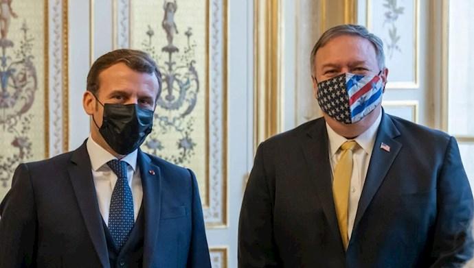 ماکرون رئیس جمهور فرانسه و پمپئو وزیر خارجه امریکا