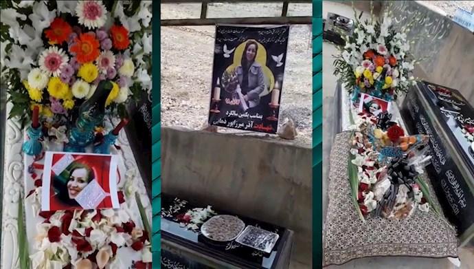 گلباران مزار شهید قیام آذر میرزاپور در کرج