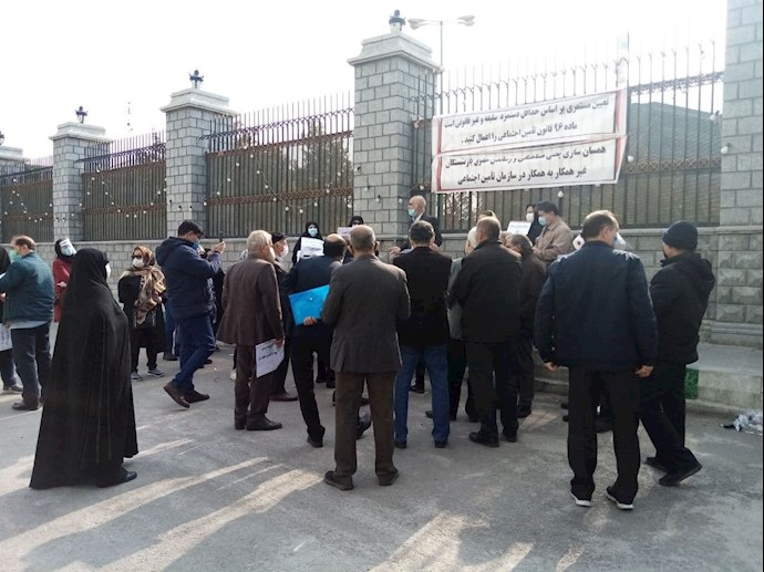 -تجمع بازنشستگان تأمین اجتماعی در جلوی مجلس ارتجاع