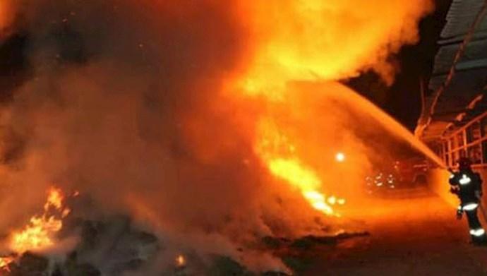 آتشسوزی و انفجار تانکر بنزین در خیابان پیروزی تهران