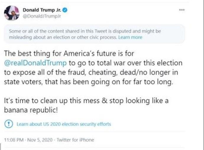 توئیت پسر ترامپ