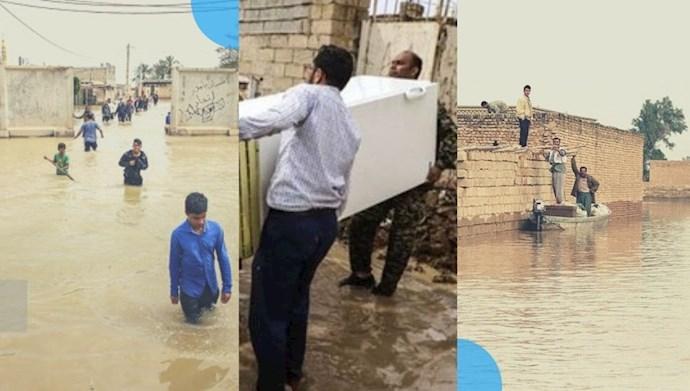 جاری شدن سیلاب در شهرها و روستاهای استان خوزستان