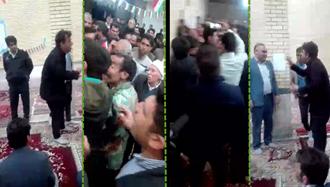 بهم زدن مجلس تبلیغات کاندید مجلس رژیم توسط مردم خشمگین