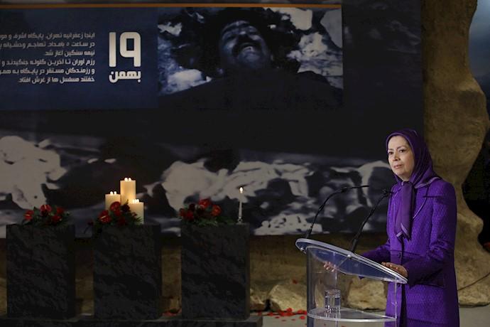 مریم رجوی - گرامیداشت شهیدان ۱۹بهمن۶۰در موزه مقاومت – اشرف۳