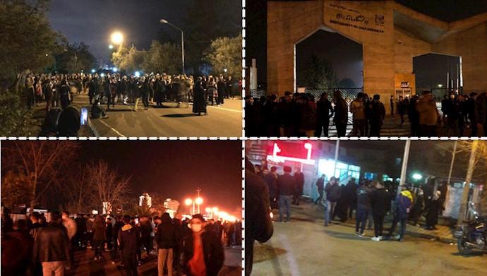 تجمع شبانه دانشجویان دانشگاهها در اعتراض به عدم تعطیلی دانشگاه با وجود شیوع ویروس خطرناک کرونا