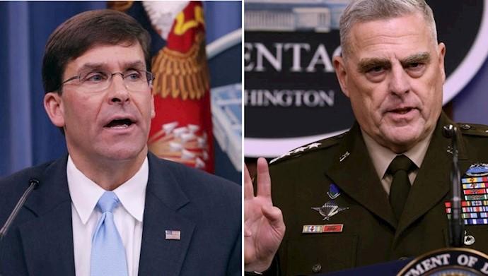 ژنرال میلی رئیس ستاد مشترک ارتش آمریکا و مارک اسپر وزیر دفاع آمریکا