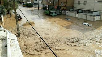 وقوع سیل در کرمان