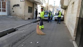 کارگران شهردای فاقد ماسک و دستکش