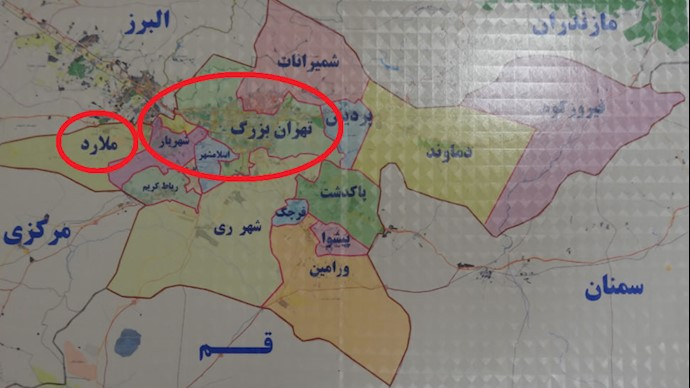 نقشه مناطق تهران بزرگ و ملارد