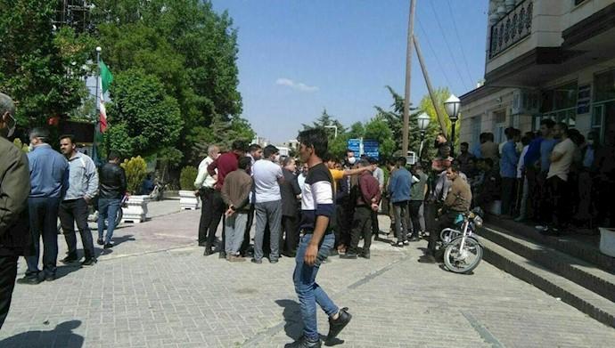 تجمع اعتراضی کارکنان و کارگران شرکت سیاحتی غار علیصدر