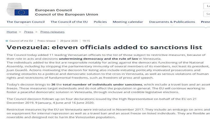 تحریم ۱۱ مقام ونزوئلایی توسط شورای اروپا