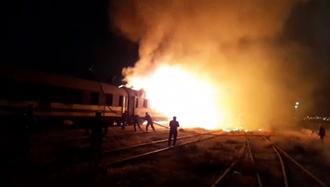 آتشسوزی واگنهای قطار مسافربری در اسلامشهر