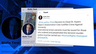 جولیو ترتزی - بستن پرونده ترور دکتر کاظم رجوی توجیه جنایت علیه بشریت است
