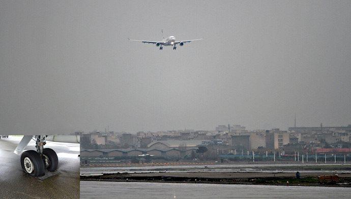 حادثه در فرودگاه شیراز / لاستیک هواپیما روی باند ترکید