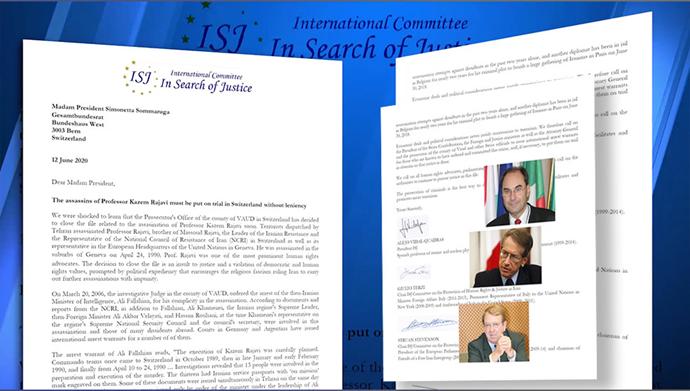 بیانیه در جستجوی عدالت - اعتراض به تصمیم سوئیس برای بستن پرونده ترور دکتر کاظم رجوی