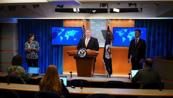 کنفرانس خبری مایک پمپئو وزیر خارجه آمریکا