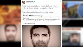 توئیت ریچارد گرنل در مورد محاکمه اسدالله اسدی دیپلمات تروریست رژیم ایران