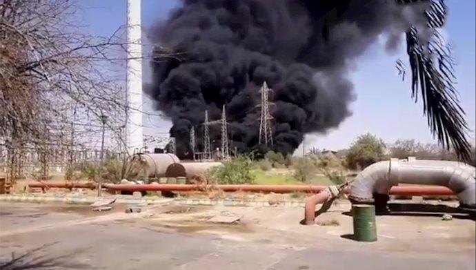 انفجار و آتش سوزی گسترده در نیروگاه مدحج زرگان خوزستان