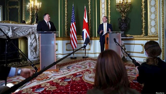 کنفرانس مطبوعاتی مایک پمپئو، وزیر خارجه آمریکا و دومنیک راب، وزیر خارجه بریتانیا